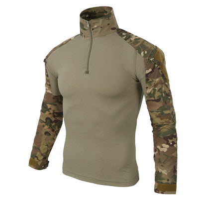 MEGE KNIGHT Military Tactical Combat Polyester Cotton Linen Camo Camouflage Short Collared Long-Sleeve Men's Shirt - 12 Colors