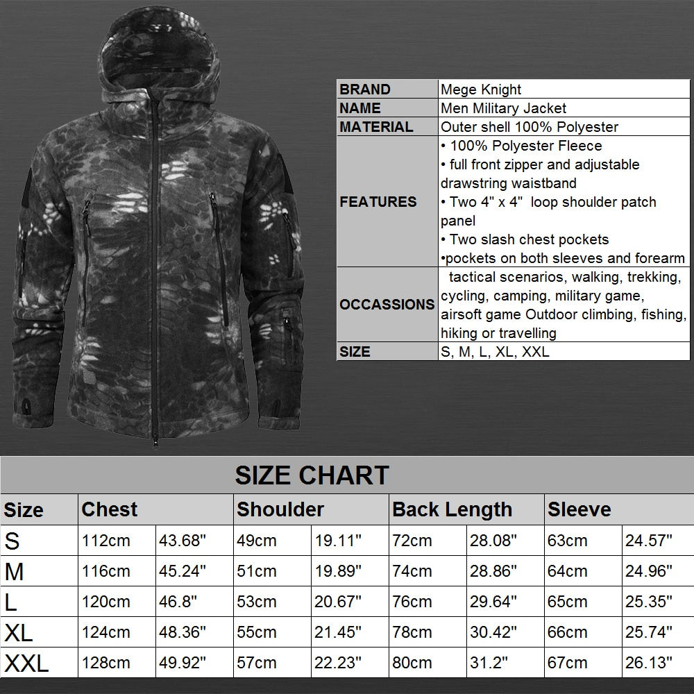 MEGE KNIGHT Hooded Military Tactical Combat Men's Camouflage Water Resistant Windbreaker Jacket - 9 Camo Colors
