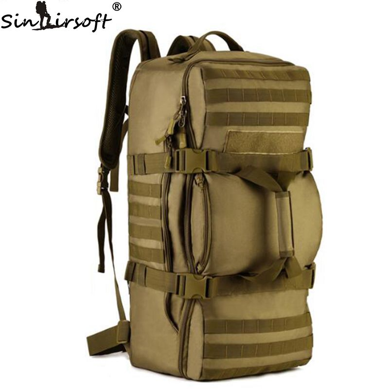 SINAIRSOFT 60L Outdoor Tactical Sport Climbing Nylon Men Bag Military Rucksack Travel Hiking Shoulder Messenger Backpack LY0058