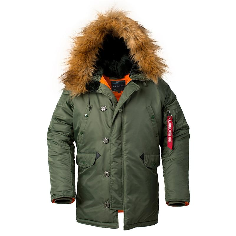 2018 Winter Classic Parka Jacket For Men Military Tactical Jacket Army Navy Airforce Pilot Coat With Fur Hood - 3 Colors