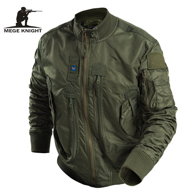 MEGE KNIGHT Military Tactical Combat Men's Water Resistant Windbreaker Bomber Pilot Jacket - Black Army Green