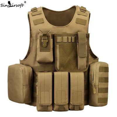SINAIRSOFT Amphibious Military Tactical Combat Molle Shooting Airsoft Paintball Operator Camouflage Chest Rig Vest - 4 Camo Colors