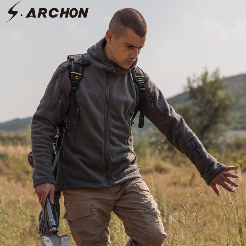 s.ARCHON Military Tactical Combat Softshell Hooded Fleece Camouflage Jacket Coat - 4 Colors