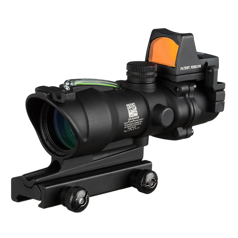 ACOG T32 4x32 Mag Tactical Combat Rifle Optical Lens Scope with Mini RMR Red or Green Dot Sight