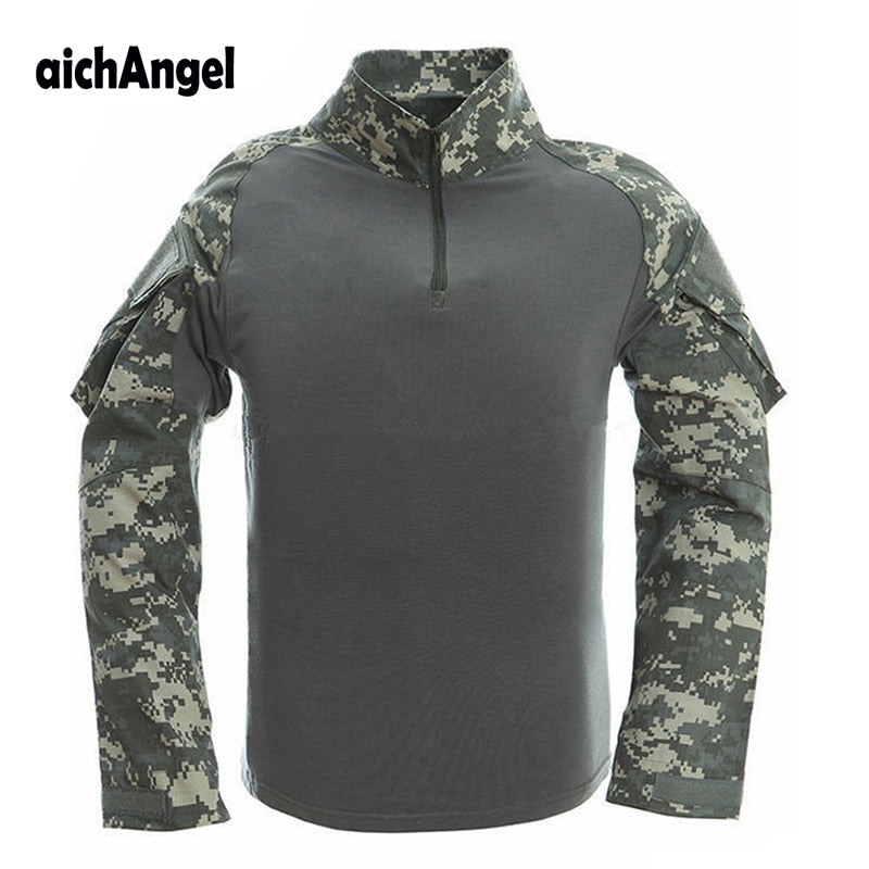aichAngel FE-9 Military Tactical Combat Camouflage Cotton Nylon Polyester Long Sleeve Men's Shirt - 7 Camo Colors