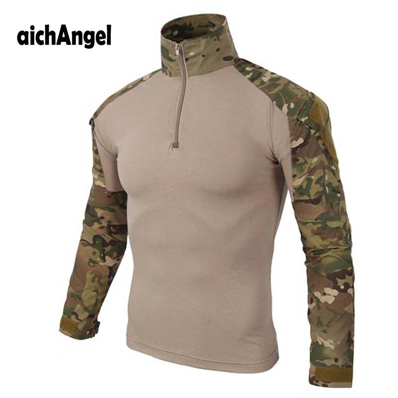 aichAngel TT-9 Military Tactical Combat Cotton Polyester Long-Sleeve Camouflage Men's Shirt - 10 Camo Colors
