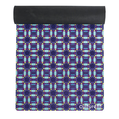 Culture Fit Blue Ankara Yoga Mat Top View