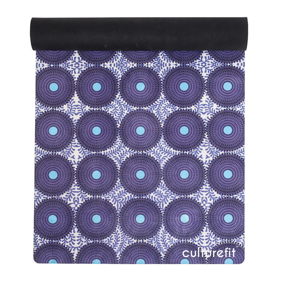 Culture Fit Purple Ankara Yoga Mat Top View