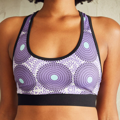 Culture Fit Purple Ankara Sports Bra Front View