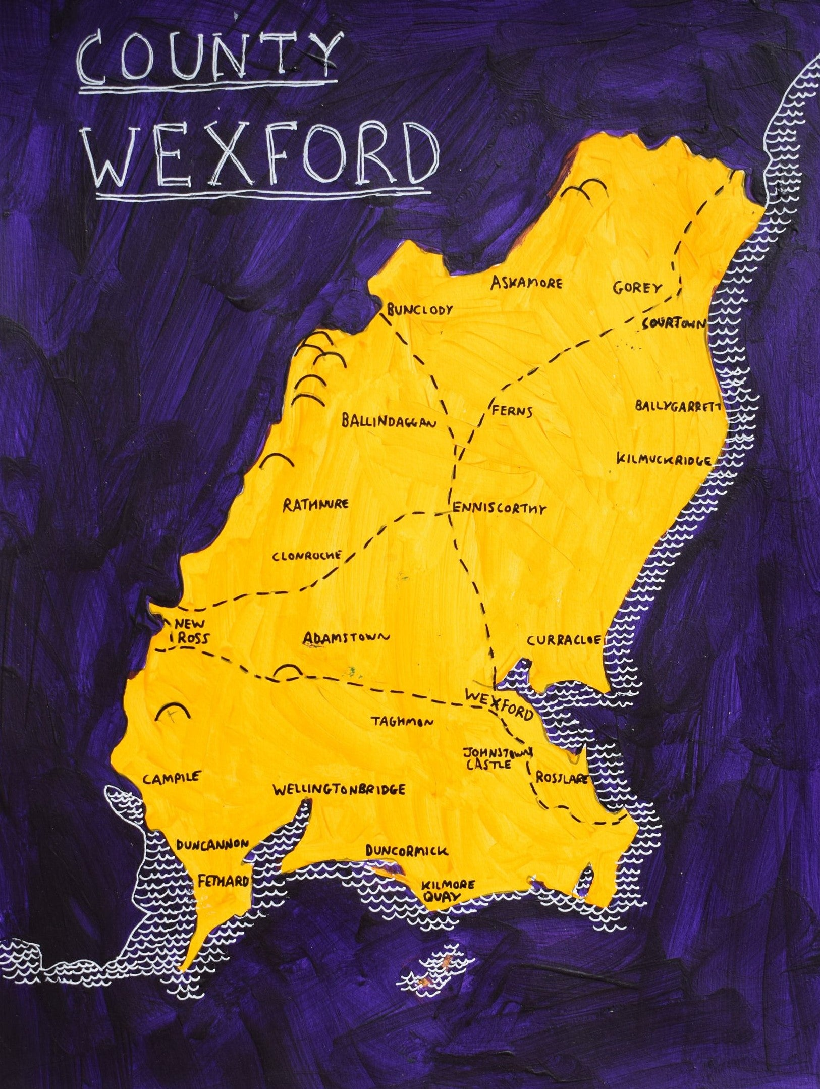 County Wexford Map, personalised gift idea | GAA colours ... on ireland wexford, courtown wexford, hook lighthouse wexford, whites hotel wexford, co wexford,