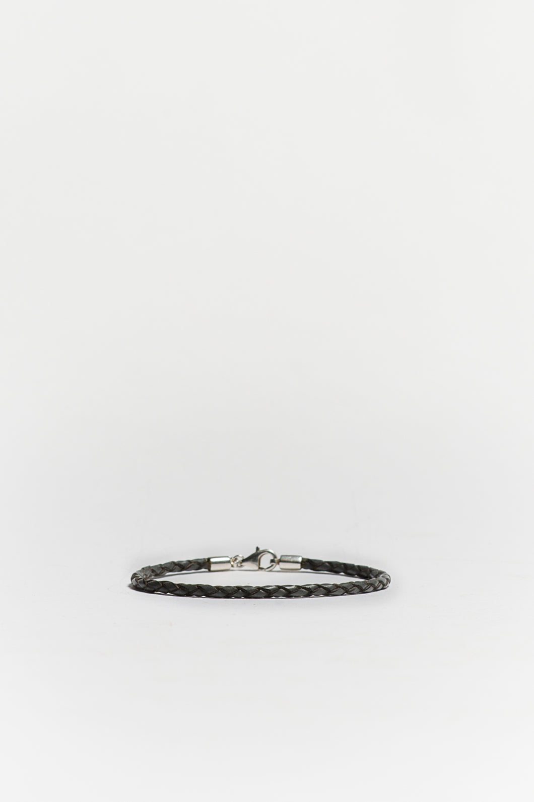 Woven Leather Bracelet in Grey