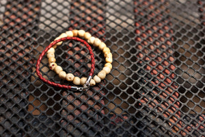 Woven Leather Bracelet in Red