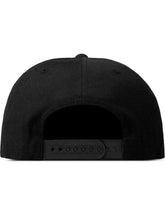 Hand-stitched Logo 5-Panel Adjustable Snapback Black