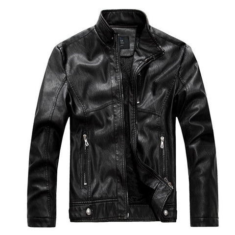 Leather Jacket Men Slim Short