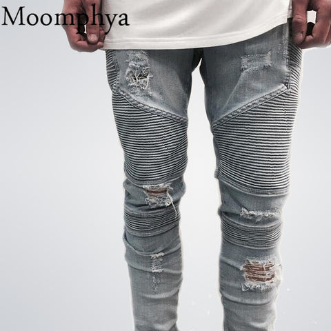 Hip-Hop Men Jeans masculina Casual Denim Distressed