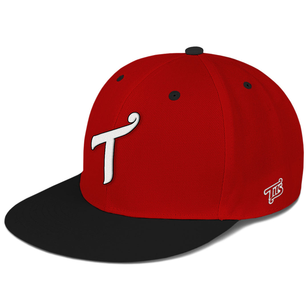 T Logo Black / Red Snapback Hat