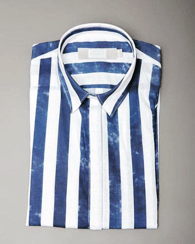 Gibson and Birkbeck stripy linen sleeveless shirt