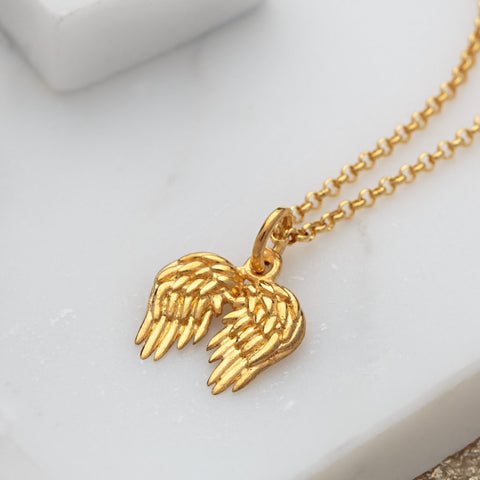 Lily Charmed Gold Small Angel Wings Necklace