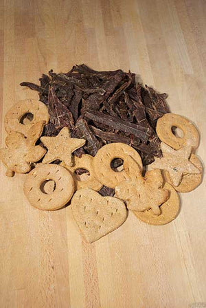 1 LB Beef Jerky and 1 Dozen Assorted Biscuits (Ships for Free!)