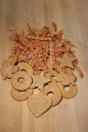 1 LB Chicken Jerky and 18 Assorted Biscuits (Ships for Free!)