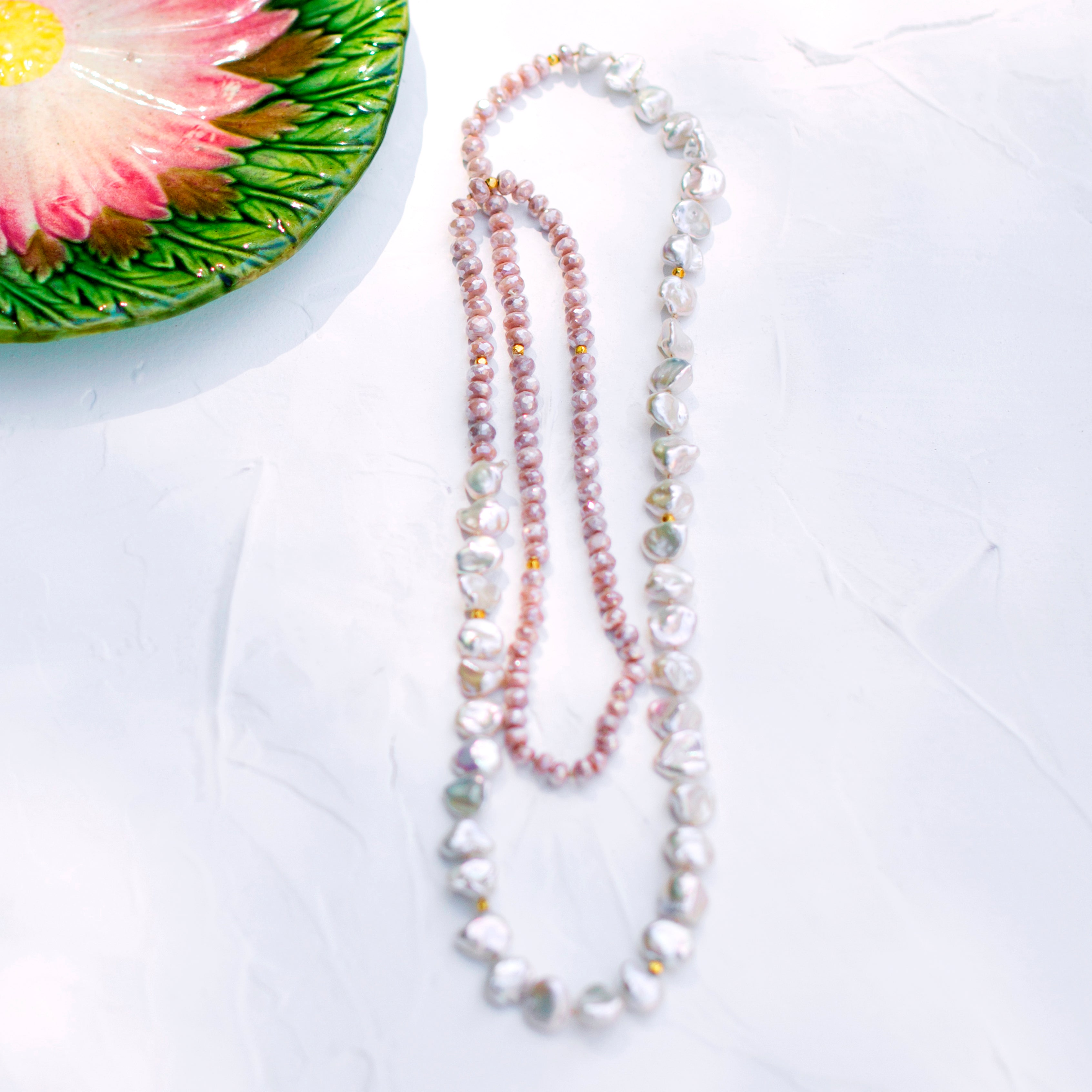 Pearl and Pink Moonstone Necklace