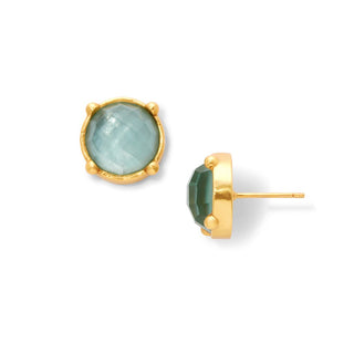 Iridescent Aquamarine Blue Honey Stud