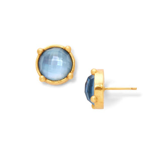 Iridescent Chalcedony Blue Honey Stud