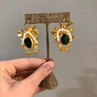 Pearl and Jade Green Earrings
