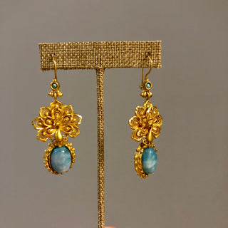 Turquoise Peacock Earrings