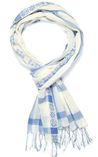 Blue and White Check Scarf