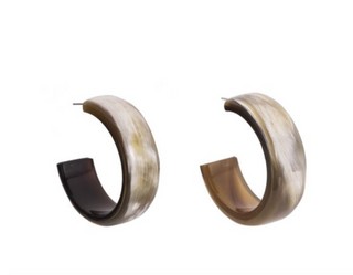 Buffalo Horn Hoop Earrings