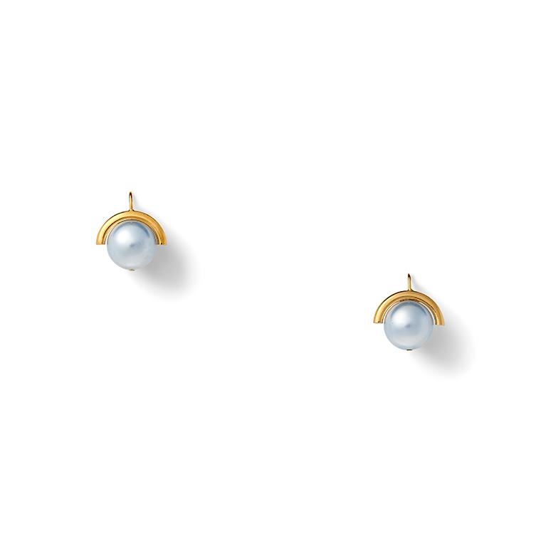 Medium Sphere Blue Pearl Earring