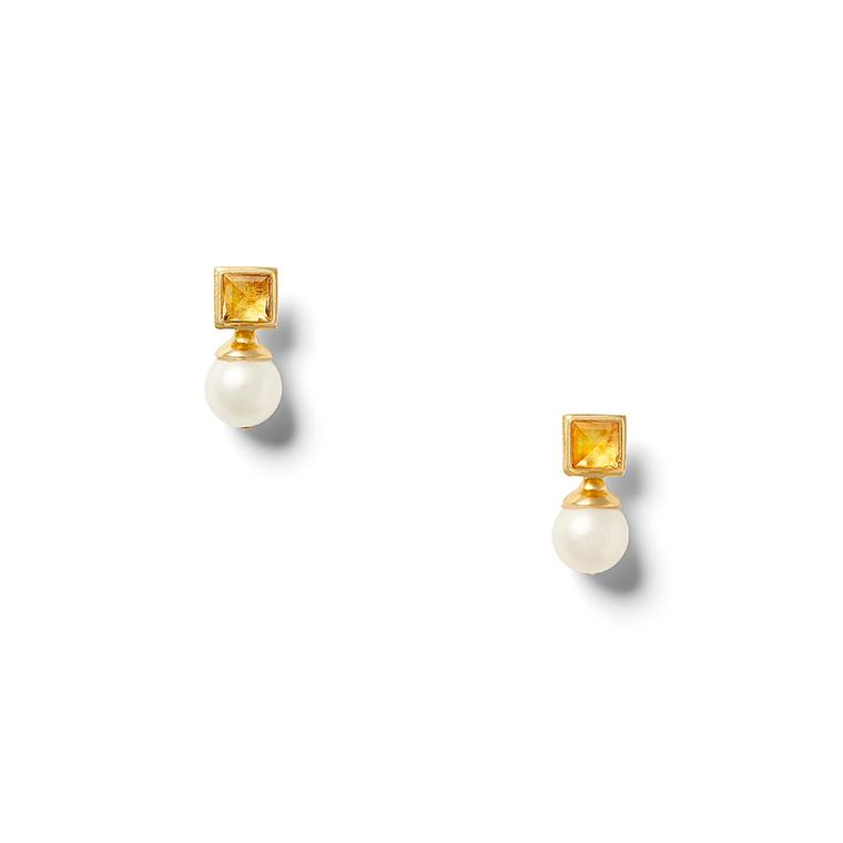 Citrine and Pearl Earring