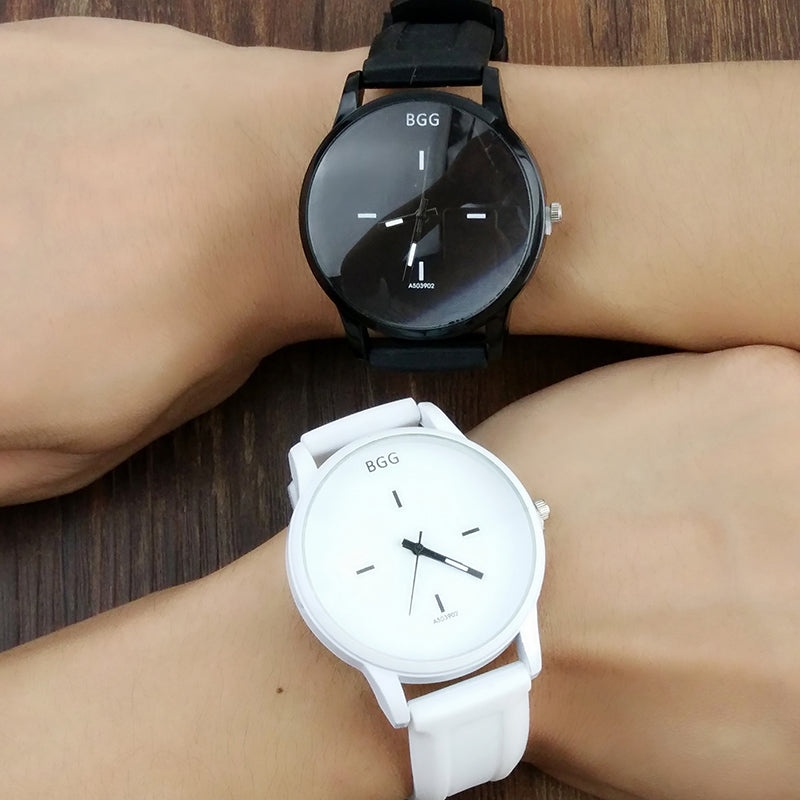 Classic Black and White Silicone  Watch