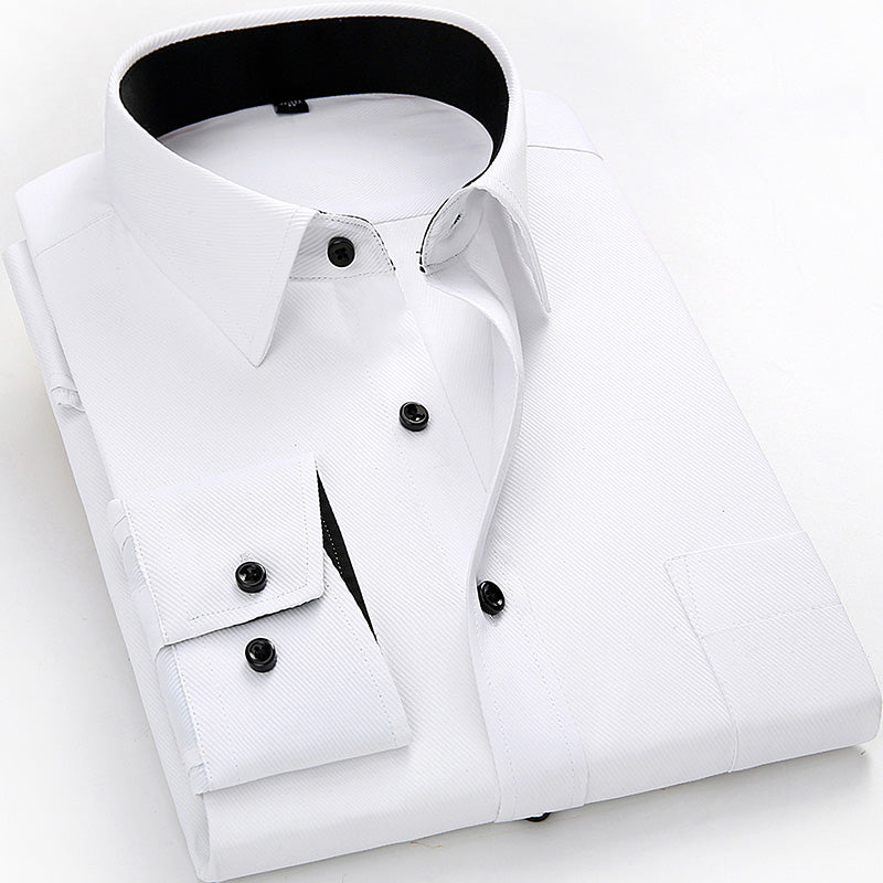 Long Sleeve Solid White Color Men Shirts