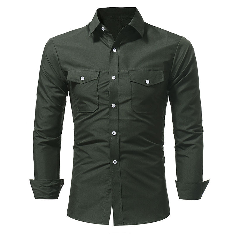 Army Solid Double Pockets Shirts