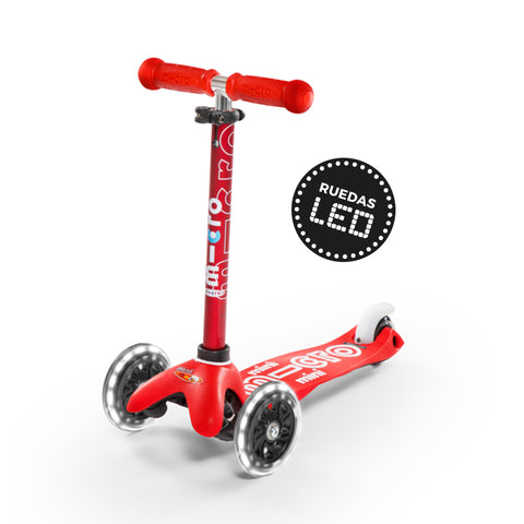 Micro Scooter Mini Deluxe LED Rojo