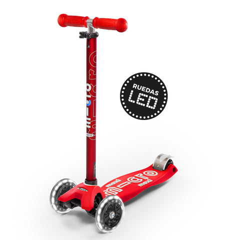 Micro Scooter Maxi Deluxe LED Rojo