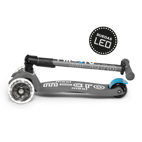 Micro Scooter Maxi Deluxe PLEGABLE LED Gris Volcano