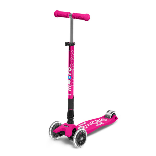 Micro Scooter Maxi Deluxe PLEGABLE LED Shocking Pink