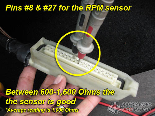 Test the RPM sensor at the DME harness