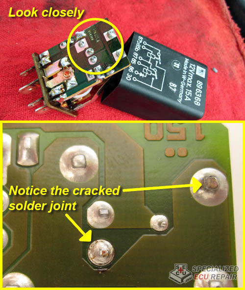 Porsche 944 DME relay cracked solder joints