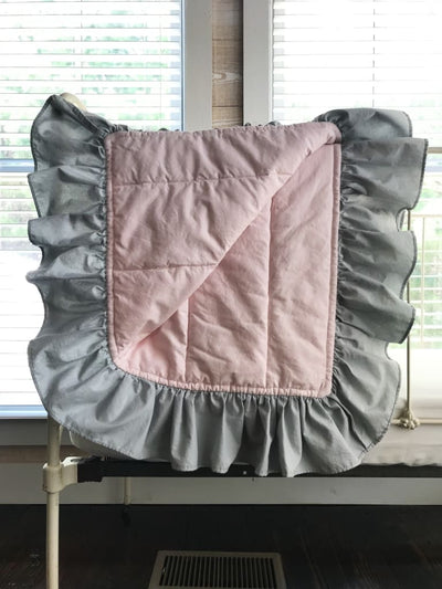 Baby Pink and Zen Grey | Ruffled Baby Crib Quilt
