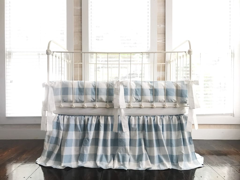 Blue Buffalo Check | Farmhouse Crib Bedding Set