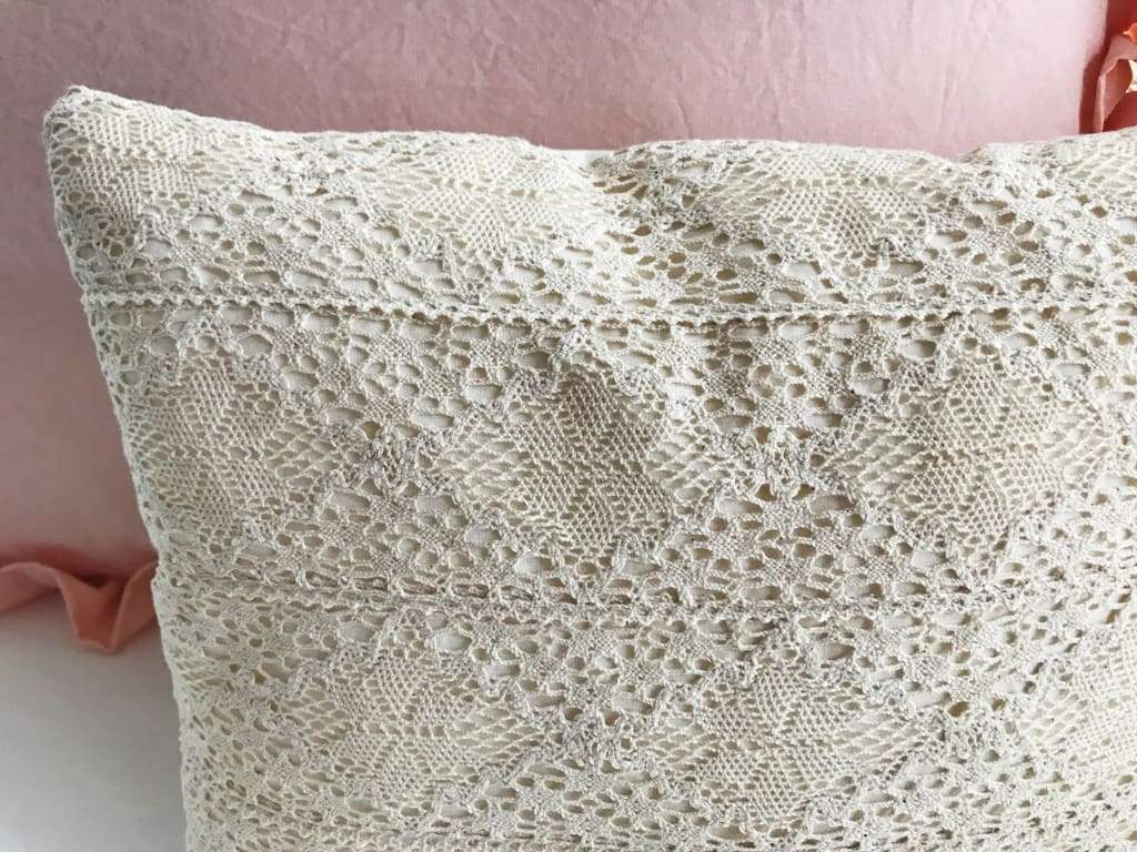 High Cotton Textile Crochet Lace Boho Baby Crib Pillow