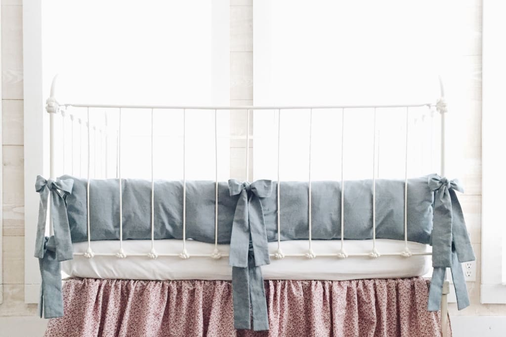 Denim Chambray | Farmhouse Crib Bumpers