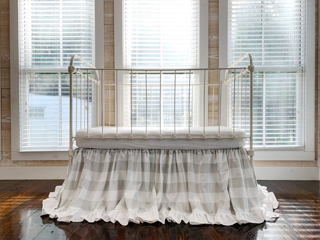 Grey Buffalo Check | Ruffled Crib Skirt