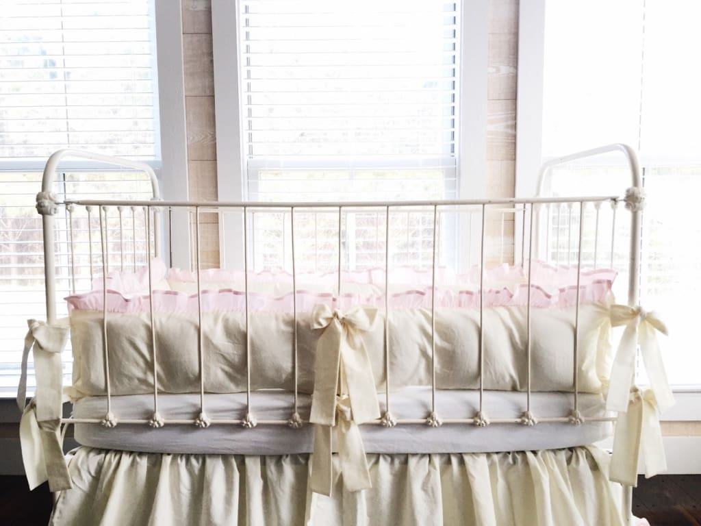 Ivory and Baby Pink | Ruffled Crib Bumpers