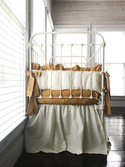 Ivory and Gold | Farmhouse Crib Bedding Set