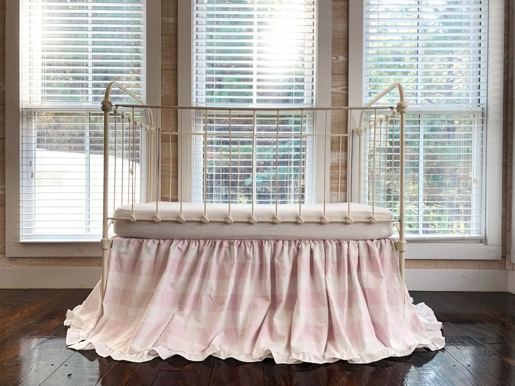 Pink Buffalo Check | Ruffled Crib Skirt